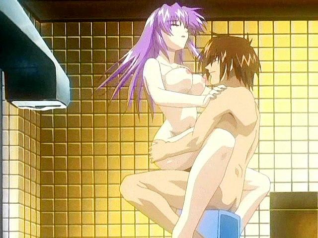 Voyeur anime babe in bukkake scene.