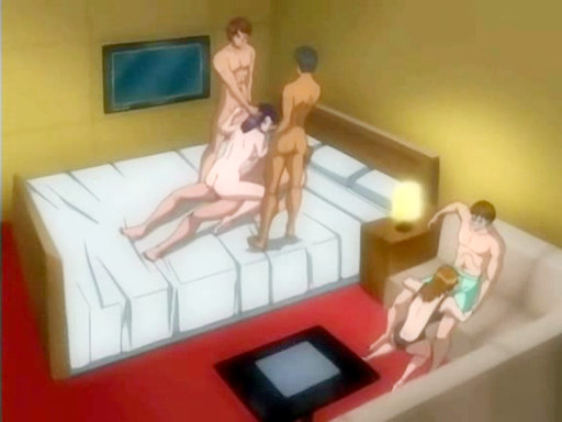 Animated Group With Babe On Three Cocks