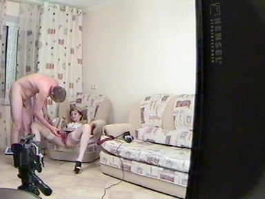Armchair fuck with a cool blonde maid hold in the air by her man!