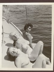 Vintage ladies getting hot sun bathes without any cloths